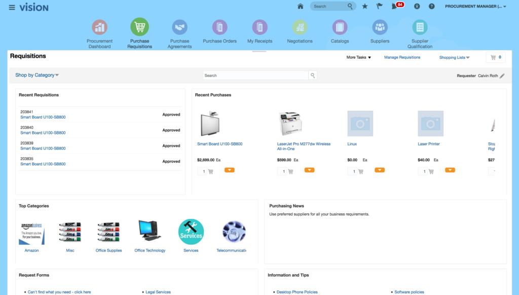 ERP systeem: voorbeeld van een inkoop pagina