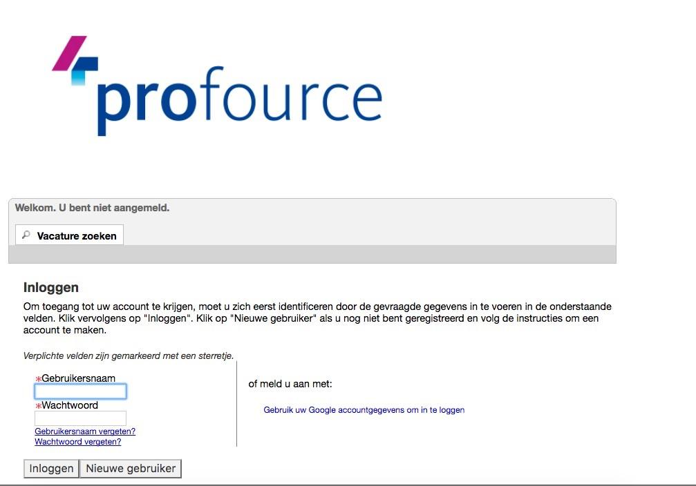 Oracle inlogscherm sollicitatie