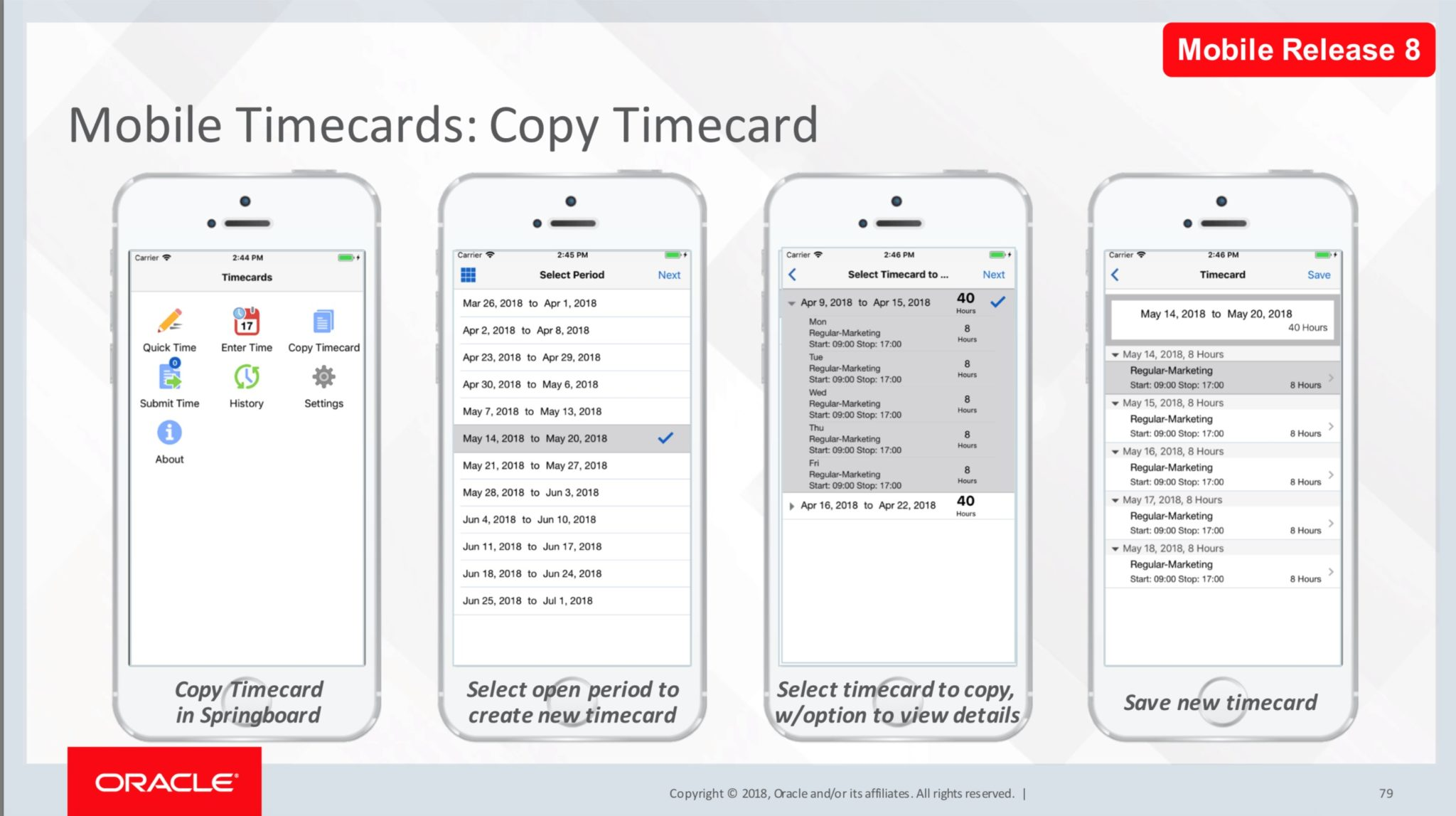 Oracle eBS Mobile timecard app