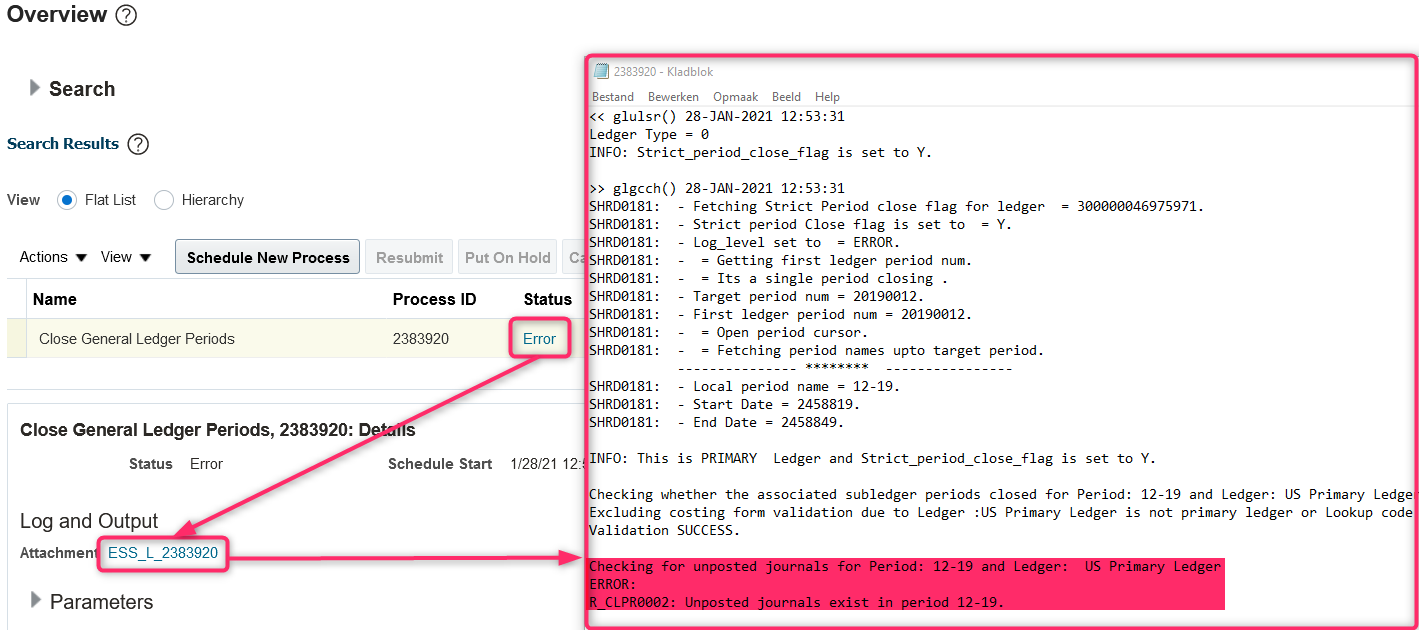 Log file of Prevent General Ledger Period Closure When Open Subledger Periods Exist